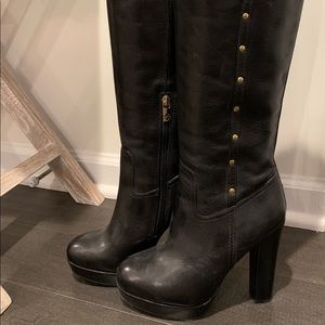 Tory Burch high heel black leather boots